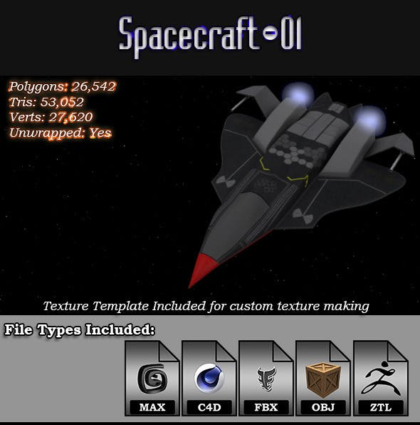 Spacecraft - 01 3D Model - 3DOcean Item for Sale