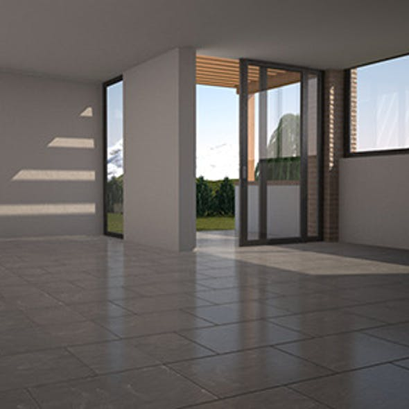 ROOM C4D Vray with environment, lights, materials