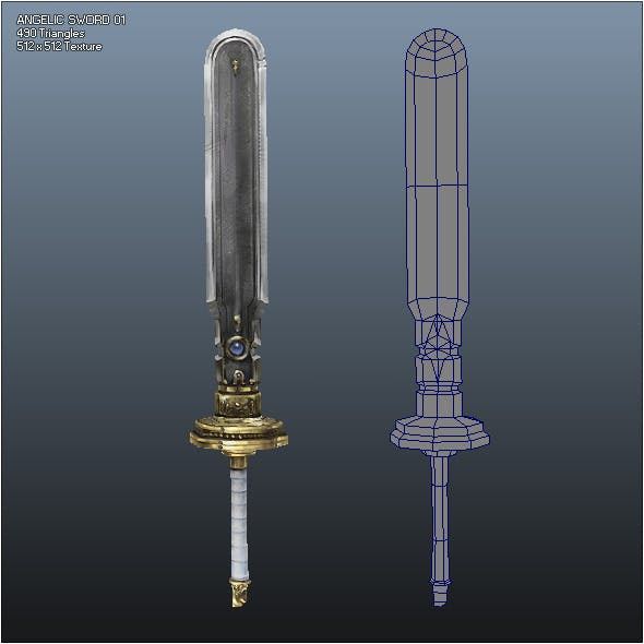 Low Poly Crusader Angelic Sword 01 - 3DOcean Item for Sale