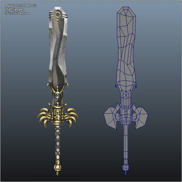 Low Poly Crusader Angelic Sword 02