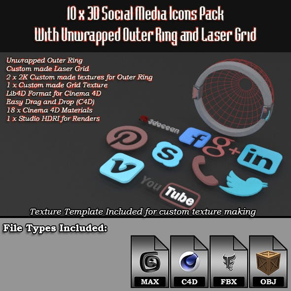 10 x 3D Social Media Icons with Laser Grid Pack