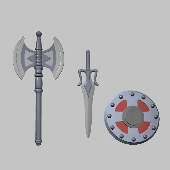 weapons swords and shield