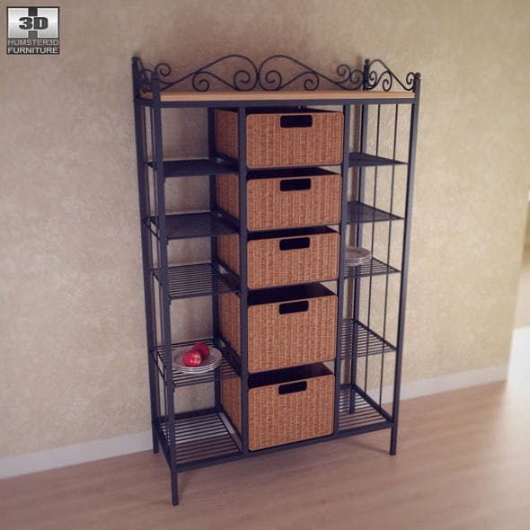 Manilla Kitchen Storage Rack - Southern Enterprise - 3DOcean Item for Sale