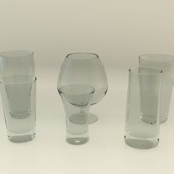 Realistic detailed glass collection (6 pack)