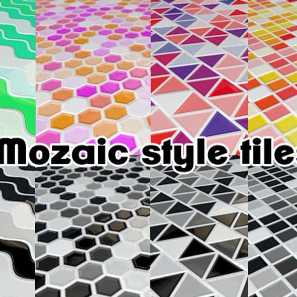 Mosaic style tiles Kitchen flooring (8 pack) C4D