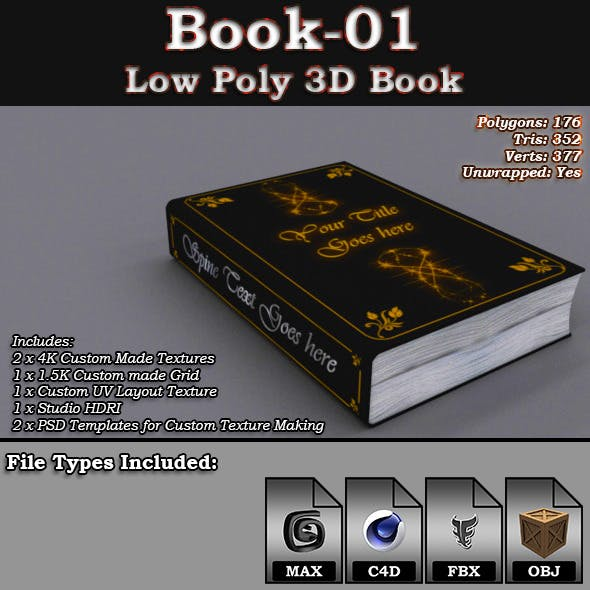 Book-01 - Low Poly 3D Book