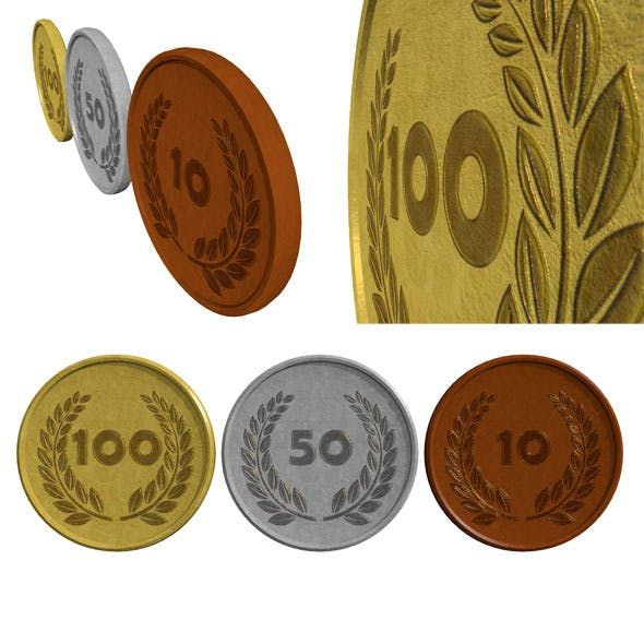 Coin Set (low poly) - 3DOcean Item for Sale