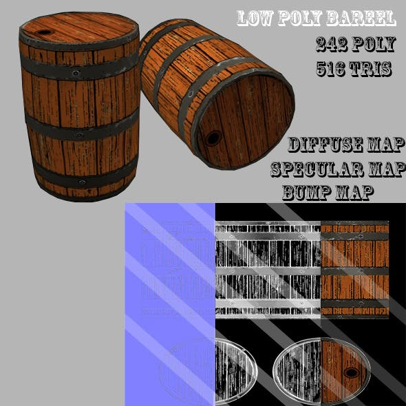 Low Poly Barrel - 3DOcean Item for Sale