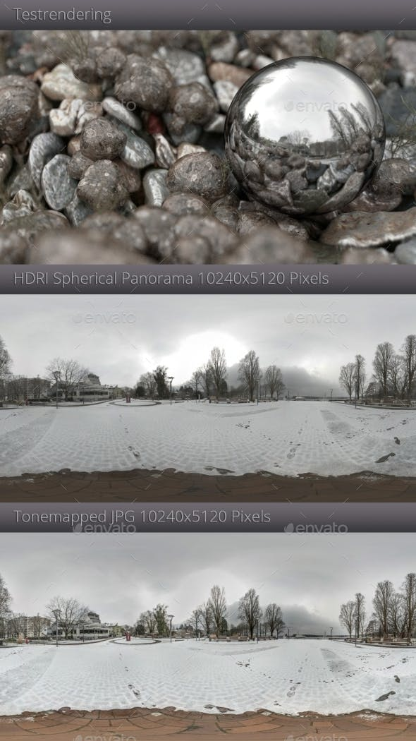 HDRI - Winterly Lakeside Promenade - 3DOcean Item for Sale