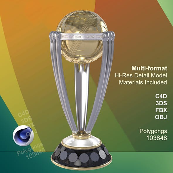 icc cricket world cup 2015 trophy 3docean item for sale