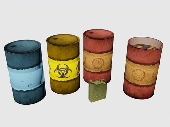 Low poly Barrells and Canister - 3DOcean Item for Sale