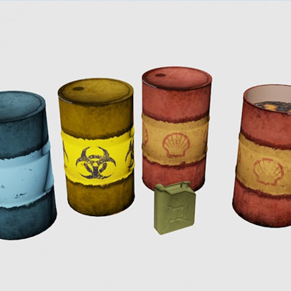 Low poly Barrells and Canister