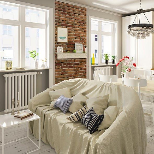 Scandinavian Realistic Kitchen Scene  - 3DOcean Item for Sale