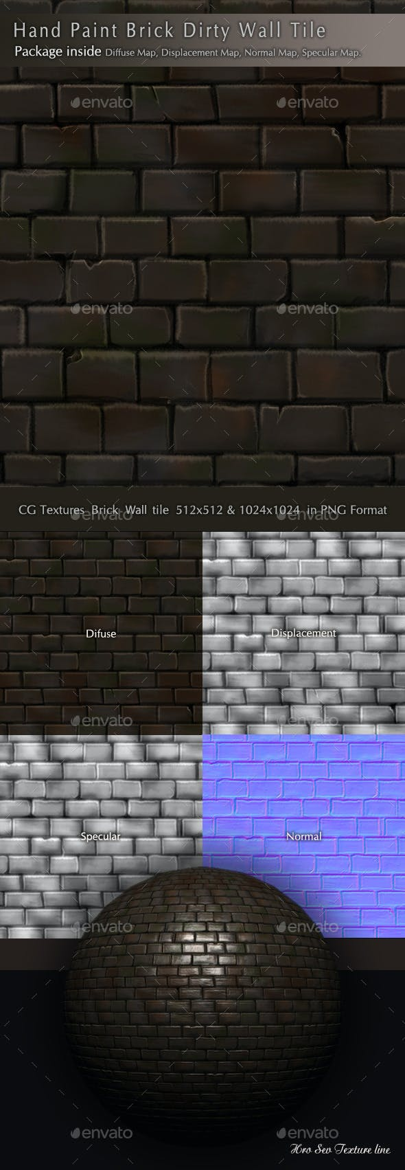 Brick Dirty Wall Texture Pack B3 - 3DOcean Item for Sale