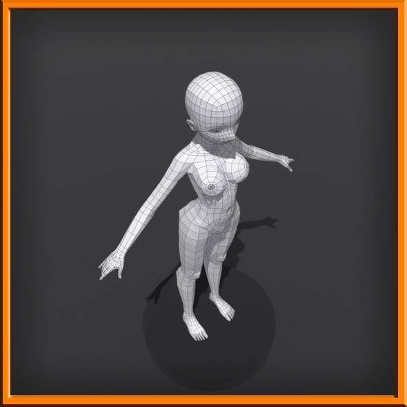 Female Low Poly Base Model - 3DOcean Item for Sale