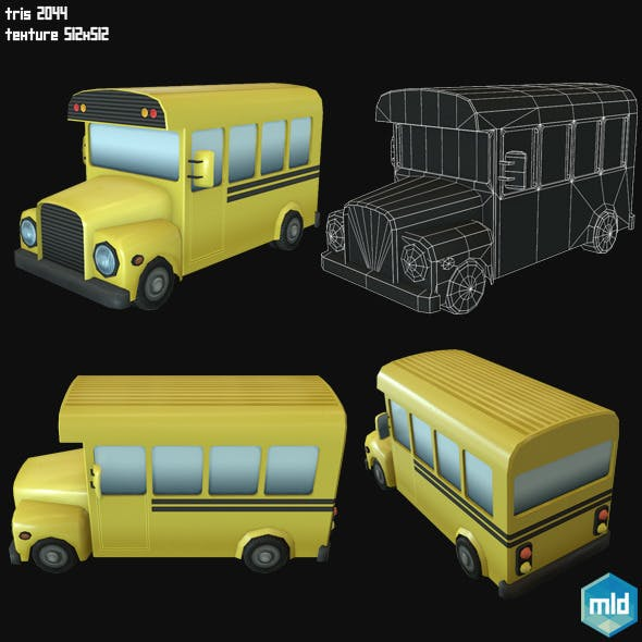 Low Poly School Bus - 3DOcean Item for Sale