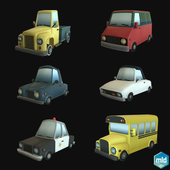 Low Poly Car Set
