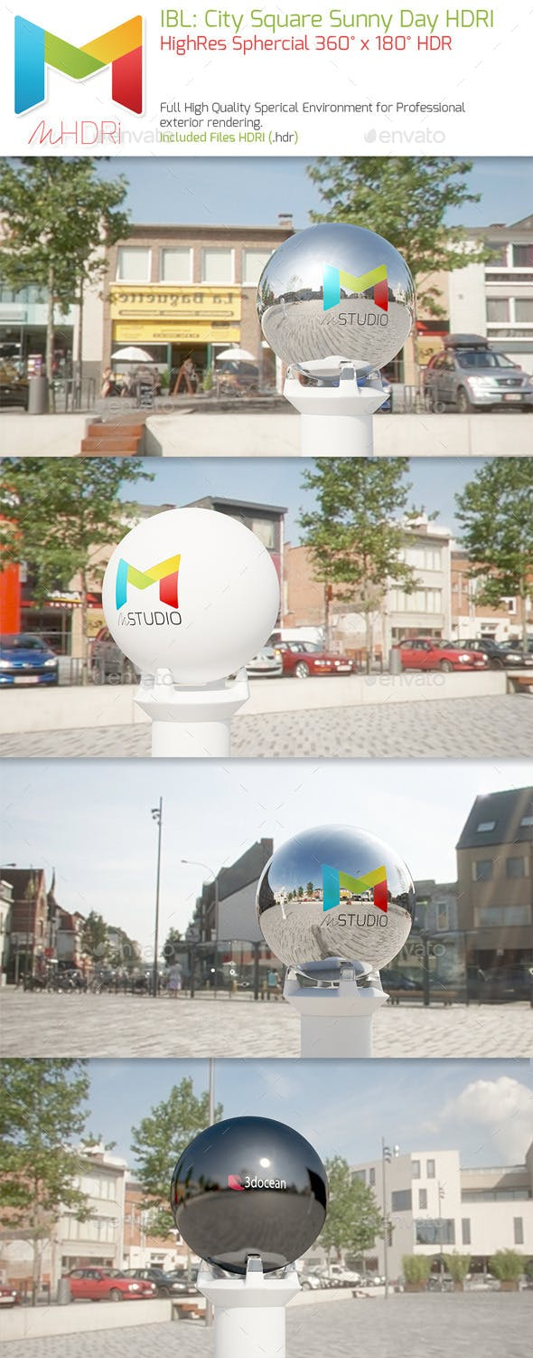 IBL : City Square Sunny Day HQ full Sperical HDRI - 3DOcean Item for Sale