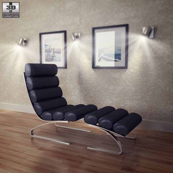 Occasional Chaise and Ottoman - Zuo Modern - 3DOcean Item for Sale