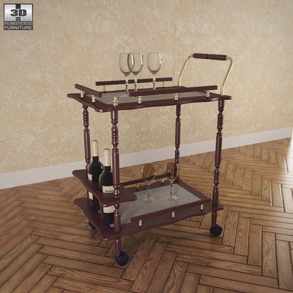 Serving Cart in Cherry - Coaster - 3DOcean Item for Sale