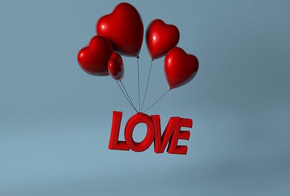 3D Love Heart Balloon  - 3DOcean Item for Sale
