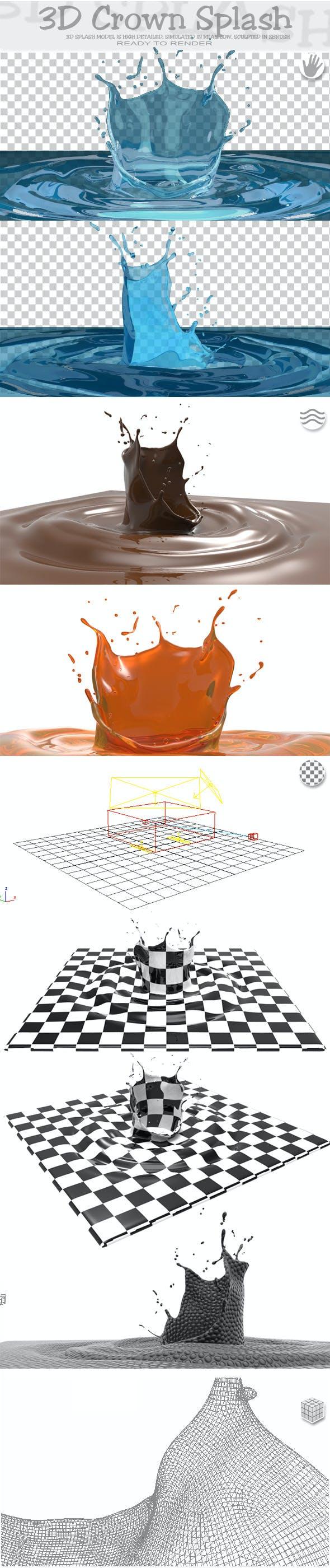 HD Crown Water Paint Liquid Splash - 3DOcean Item for Sale