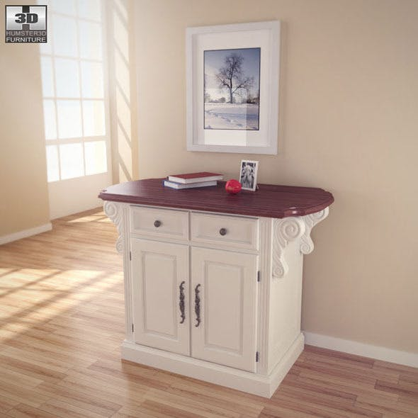 Traditions Kitchen Island in White  - Home Styles - 3DOcean Item for Sale