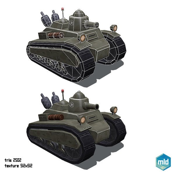 Low Poly Cartoon Old Tank