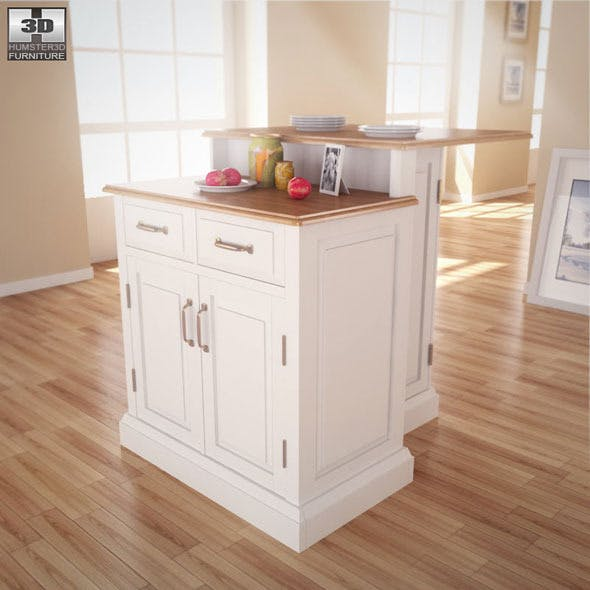 Woodbridge Two Tier Kitchen Island - Home Styles - 3DOcean Item for Sale