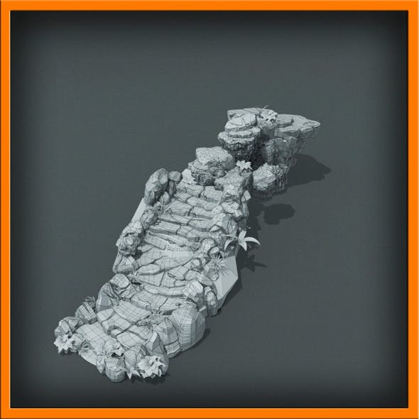 Generic stone stairs BaseMesh   - 3DOcean Item for Sale