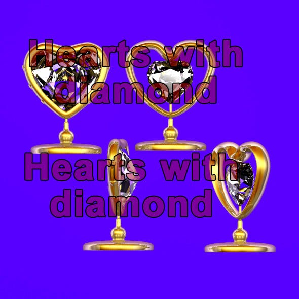 Golden Hearts with Diamond - 3DOcean Item for Sale