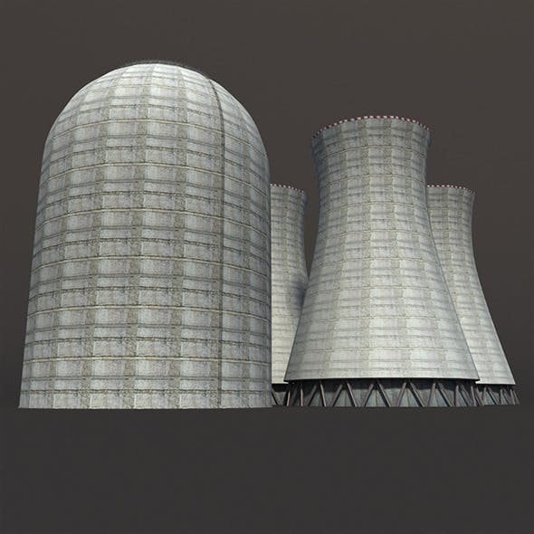 Nuclear Chimney Low Poly 3d Model