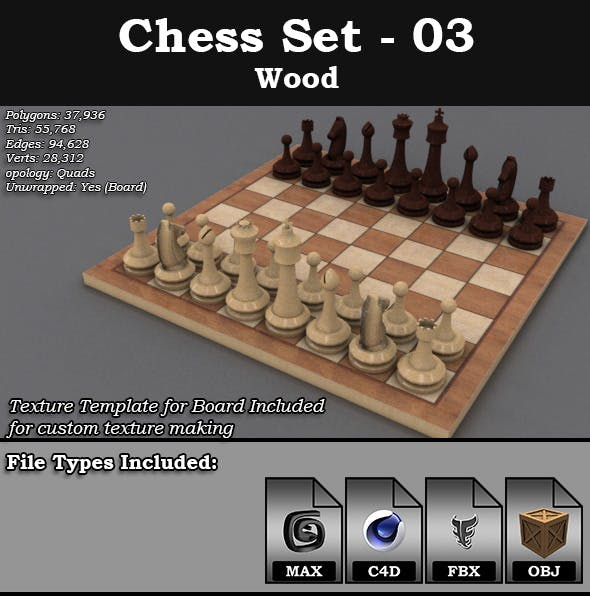 Chess Set - 03 - Wood - 3DOcean Item for Sale
