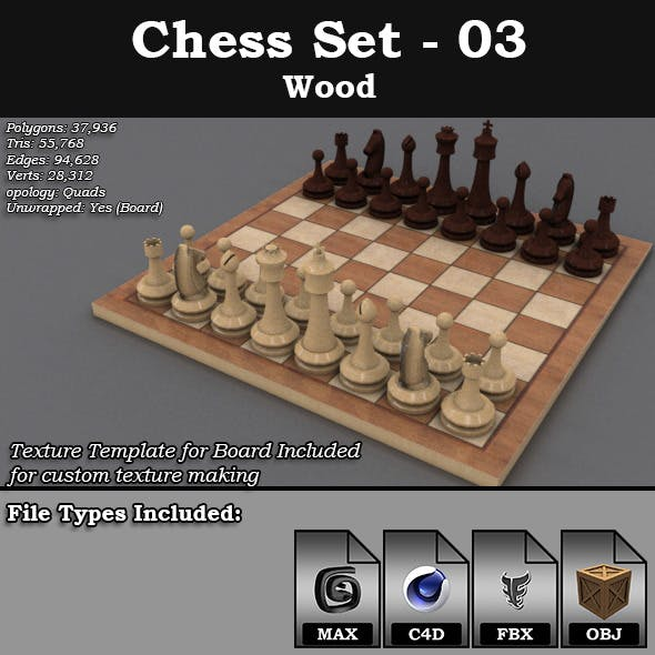 Chess Set - 03 - Wood