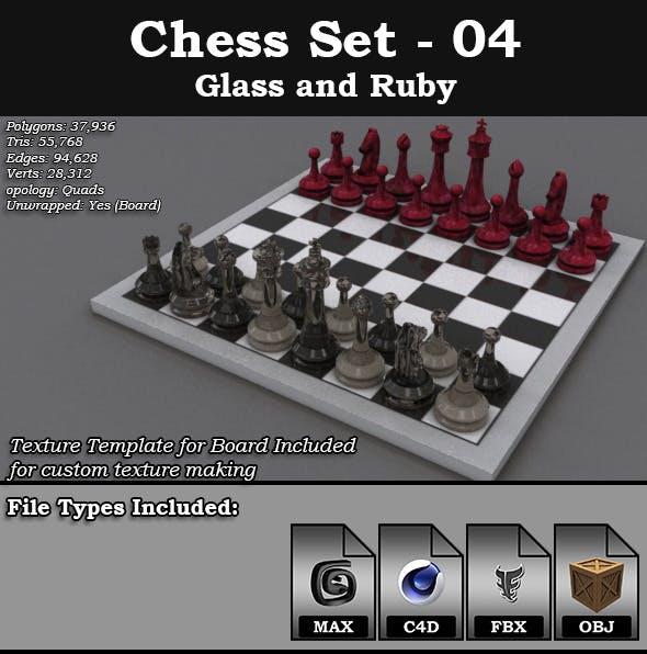 Chess Set - 04 - Glass and Ruby - 3DOcean Item for Sale