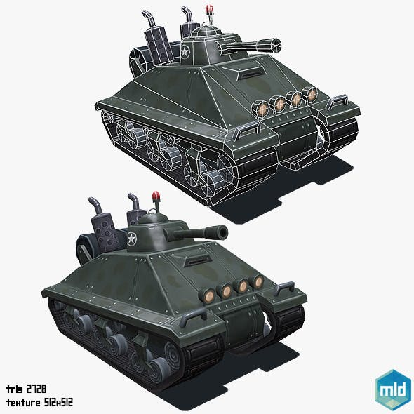 Low Poly Cartoon Big Tank - 3DOcean Item for Sale