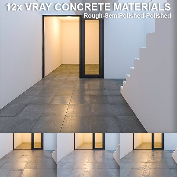12 Vray Concrete Materials - 3DOcean Item for Sale