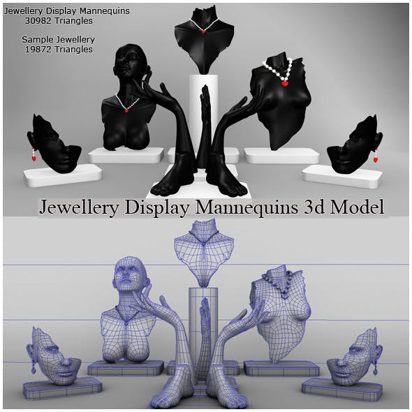 Jewellery Display Mannequins 3d Model