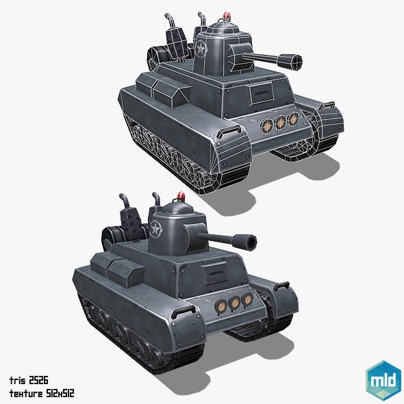 Low Poly Cartoon Middle Tank