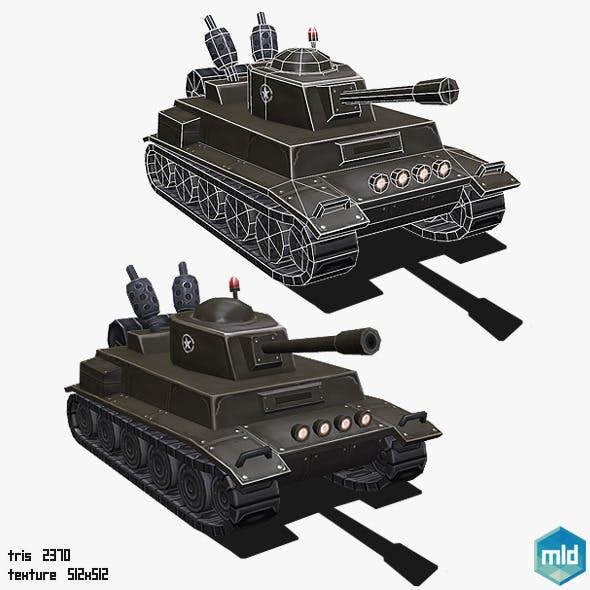 Low Poly Cartoon Tank - 3DOcean Item for Sale