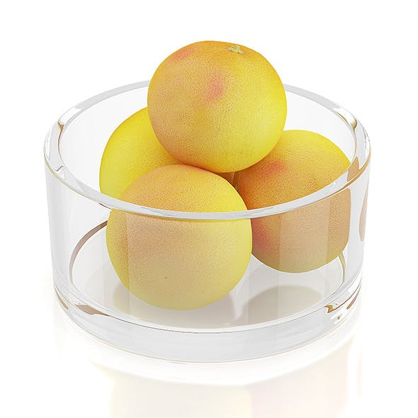 Grapefruits in glass bowl - 3DOcean Item for Sale