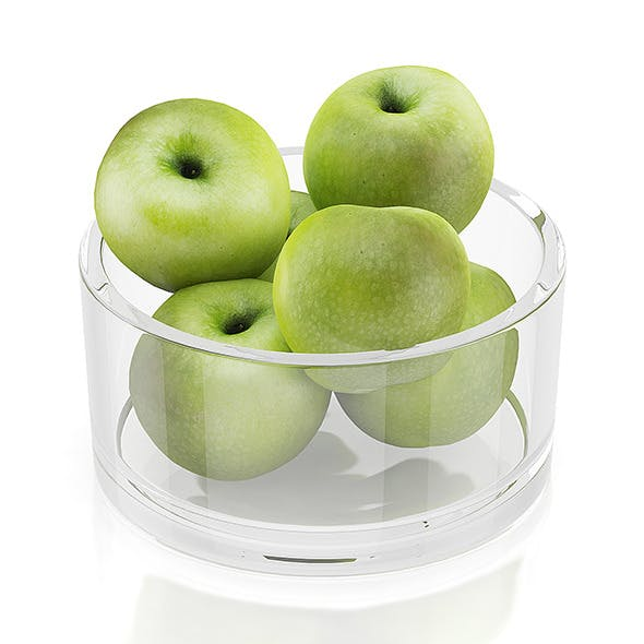 Apples in glass bowl