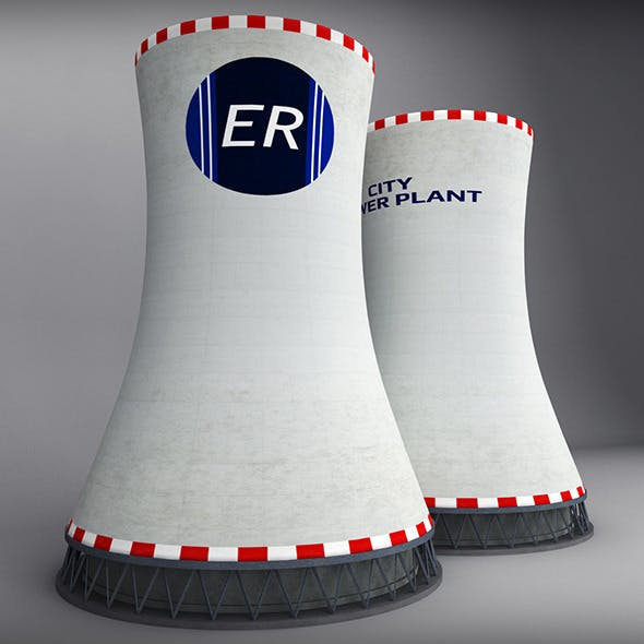 Cooling Tower Power Plant low - 3DOcean Item for Sale