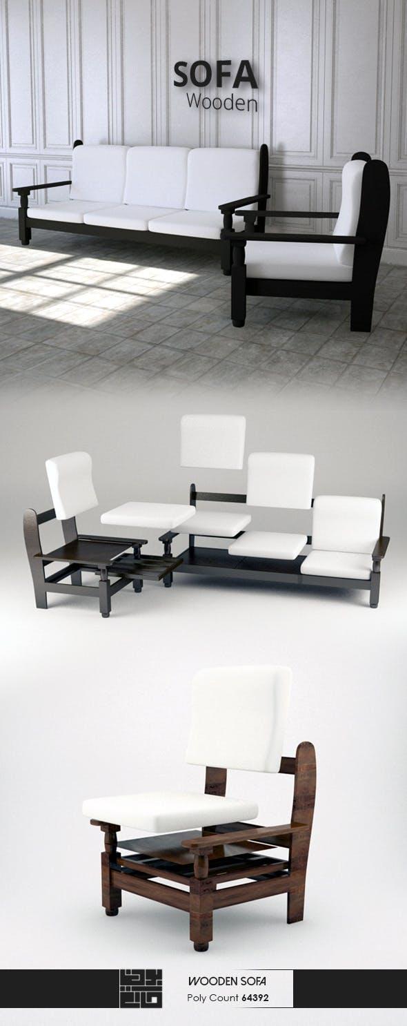 Wooden Sofa 3D Model - 3DOcean Item for Sale