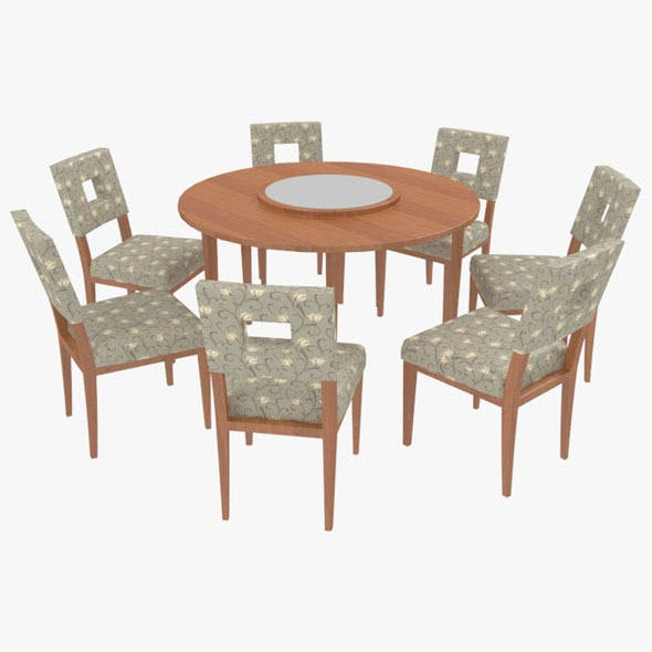 Dining Table With Chairs-8 - 3DOcean Item for Sale
