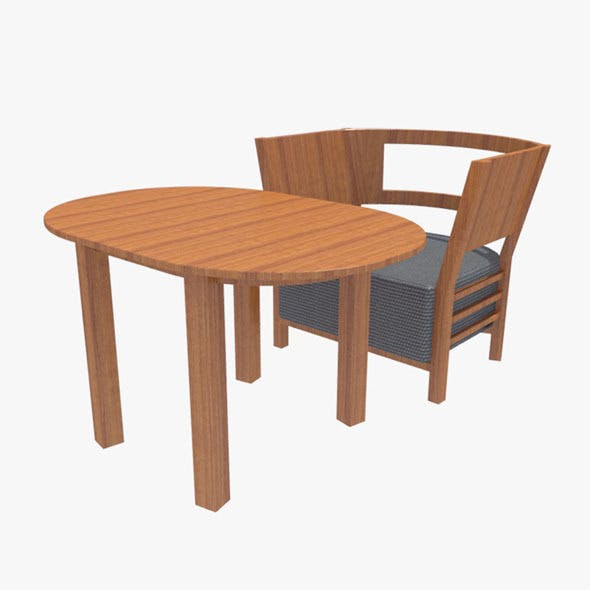 Coffee Table With Chair-3 - 3DOcean Item for Sale