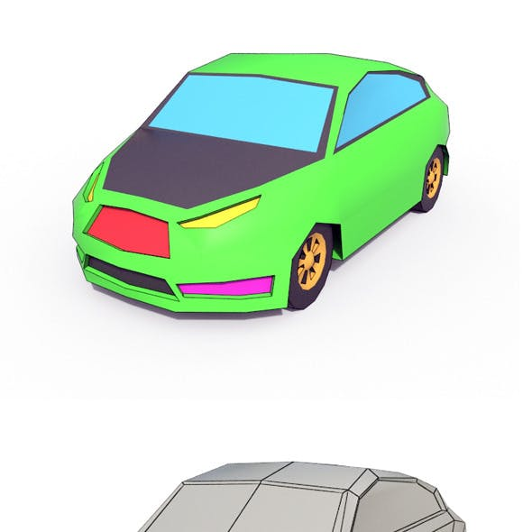 Low Poly Cartoon Car 2