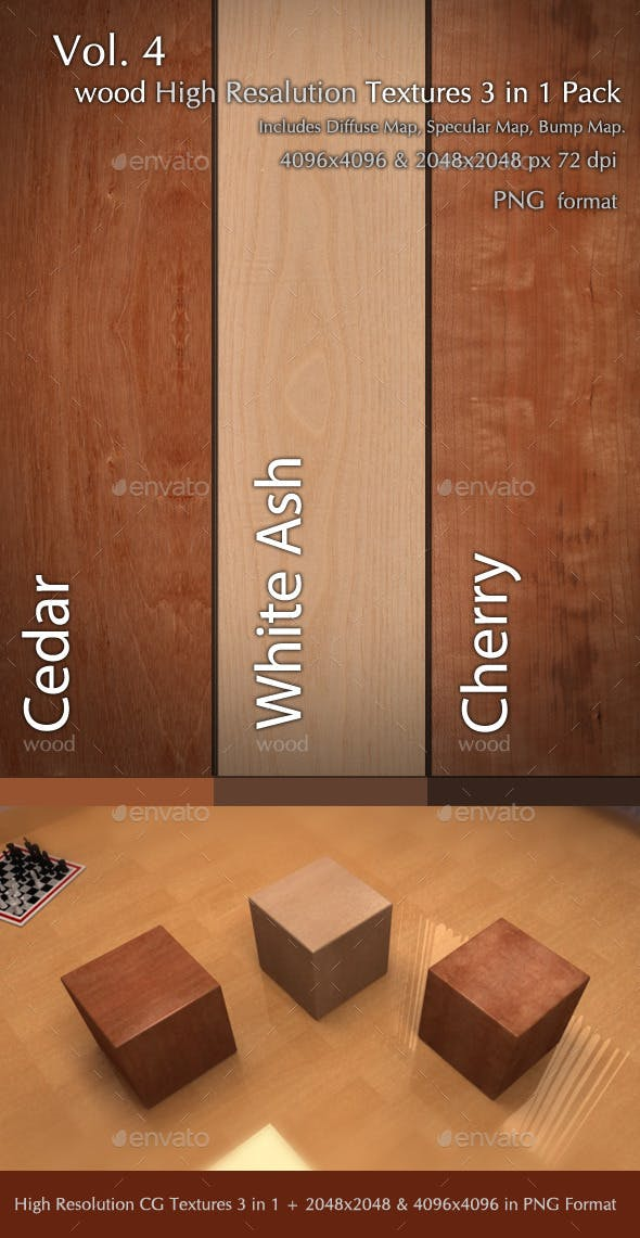 Wood CG Textures High Resulution 3 in 1 Vol.4 - 3DOcean Item for Sale