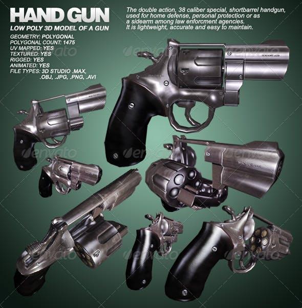Hand Gun - lowpoly 3D model of a gun - 3ds max - 3DOcean Item for Sale