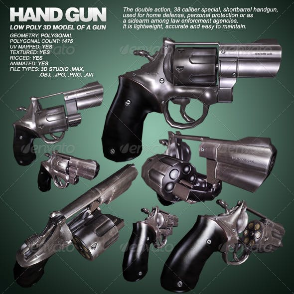 Hand Gun - lowpoly 3D model of a gun - 3ds max